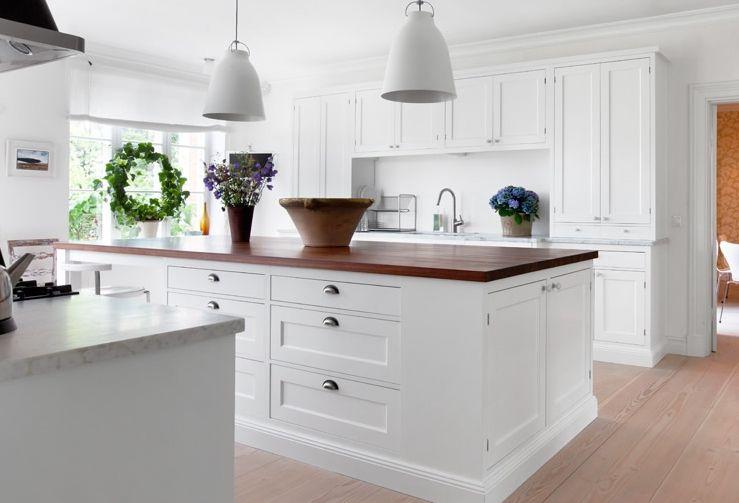 ikea köksbänkar ~ förslag på lampor över köksön vita för att tona ner det