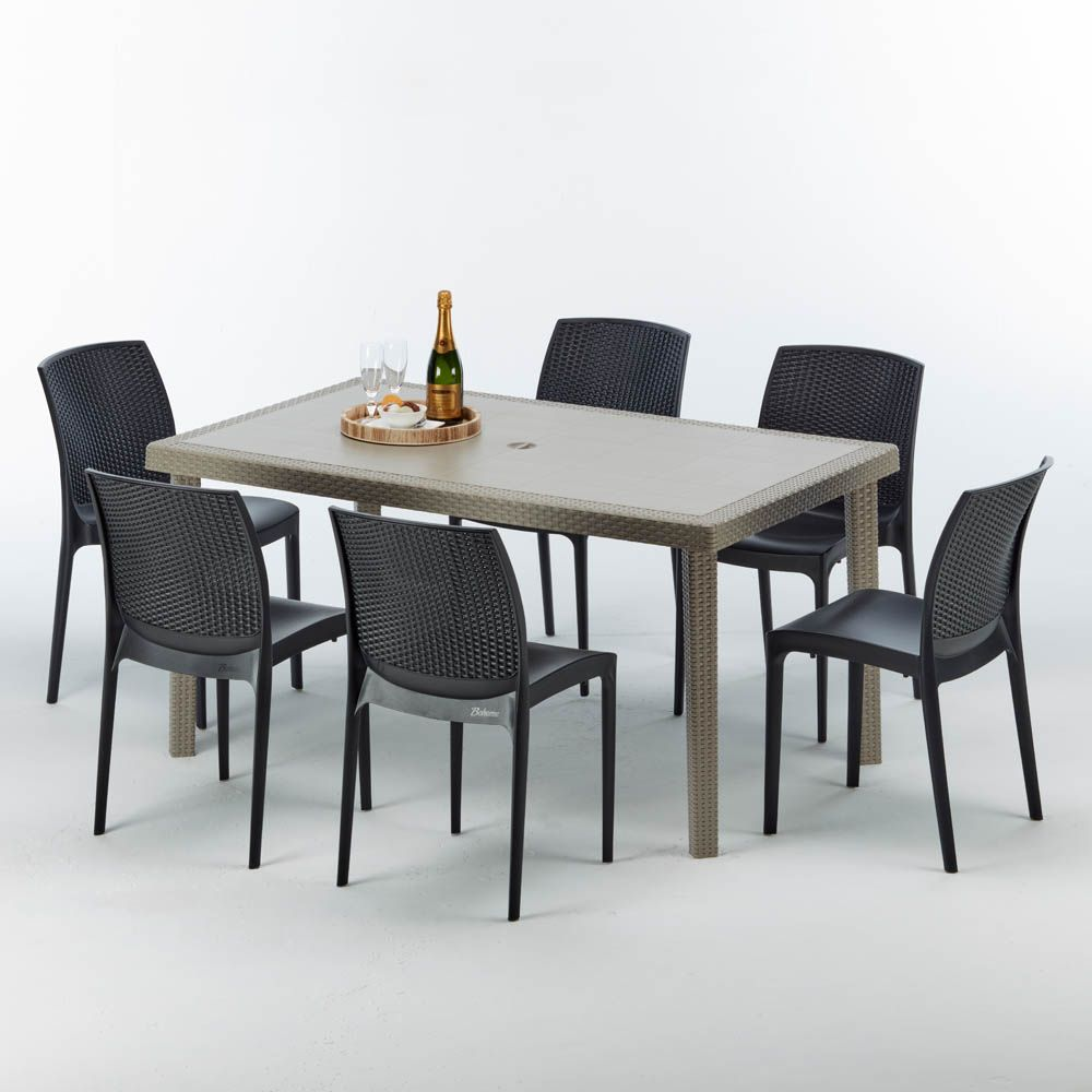 Tavolo Giardino Rattan Offerte.Tavolo Rettangolare Beige 6 Sedie Rattan Sintetico Colorate 150x90