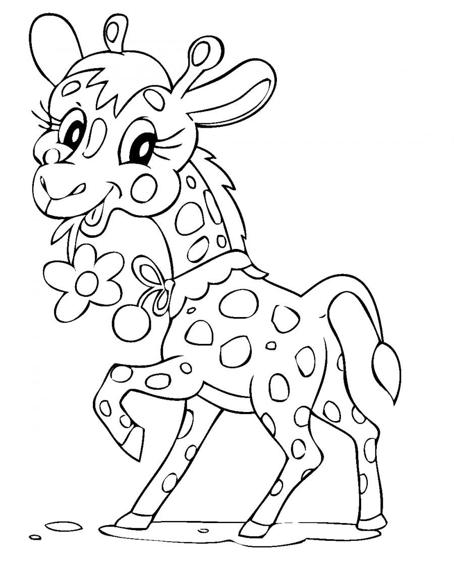 Жираф ест цветы - раскраска №1181 | Printonic.ru в 2020 г ...
