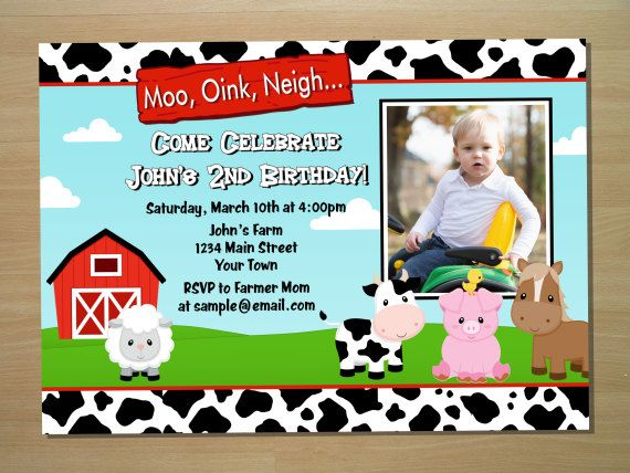 Barnyard Birthday Invitation Farm Birthday Invitation Party