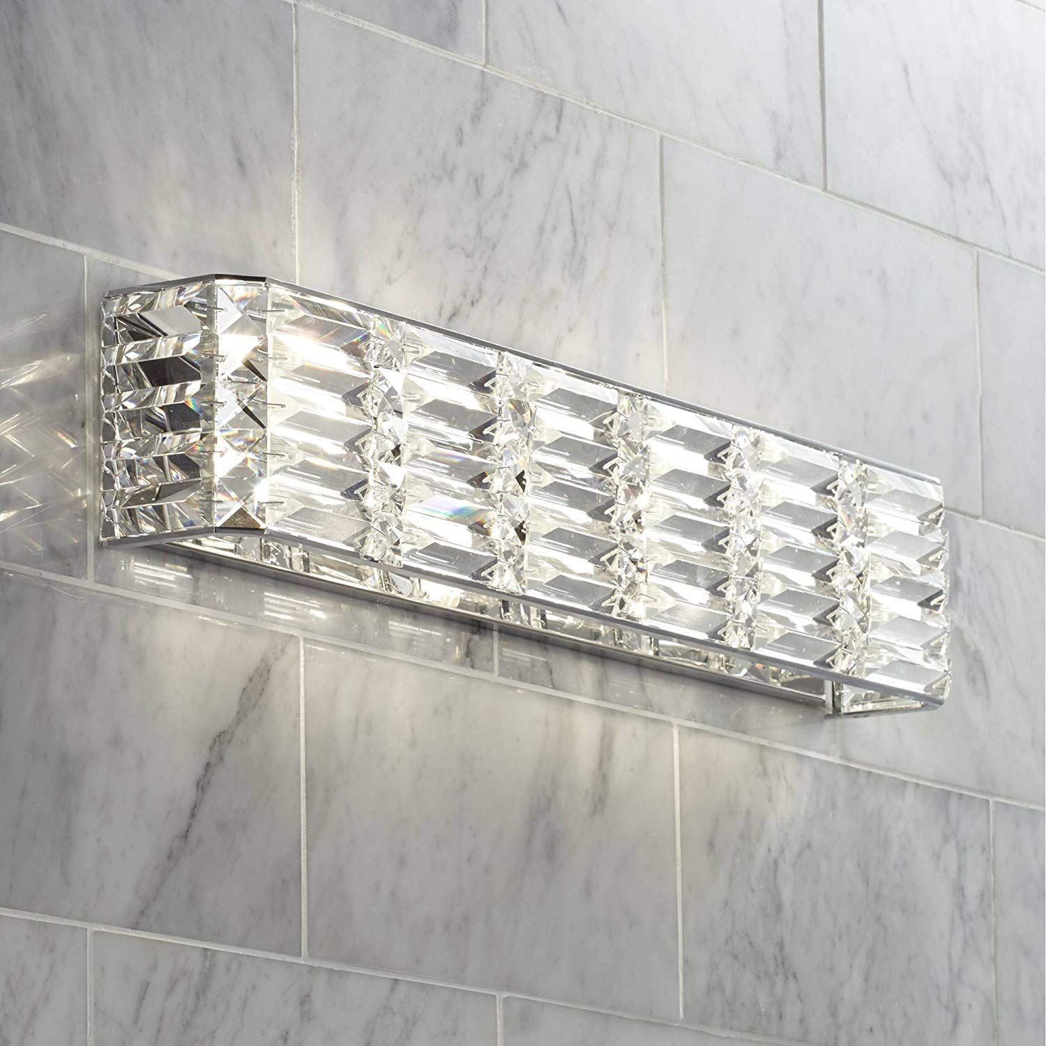 Vivienne Modern Wall Light Chrome Hardwired 24 1 2 Wide Light Bar Fixture Clear Crystal Accents For Bathroom In 2020 Crystal Bathroom Lighting Crystal Bath Bath Light