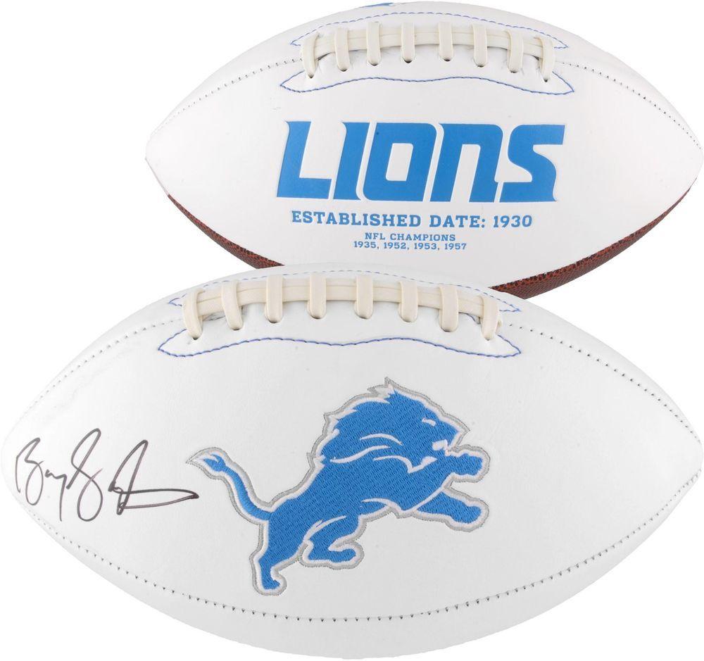 Barry sanders detroit lions autographed white panel