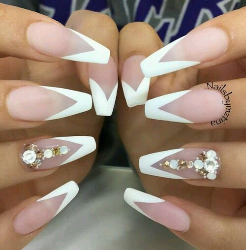 French Manicure Diamond Coffin Nails