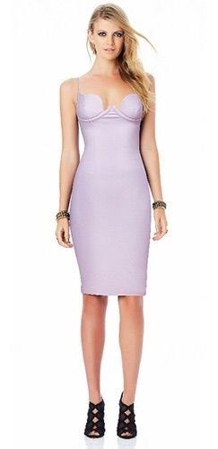 30dc9687c4e5 Nikita Light Lilac Purple Spaghetti Strap V Neck Faux Leather Bodycon Midi  Dress - Inspired by Kim Kardashian