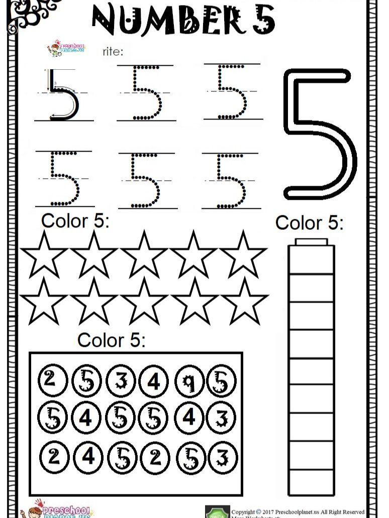 Number 5 Worksheets for Kindergarten Worksheet for