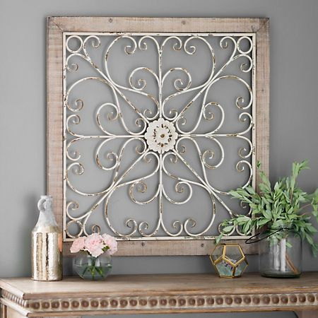 Product Details Daphne Ornate Scroll Wood And Metal Wall Plaque