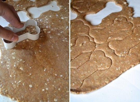 Peanut Butter Dog Treats 2 cups whole wheat flour 1 cup rolled oats 1/3 cup peanut butter 1 1/4 cups hot water