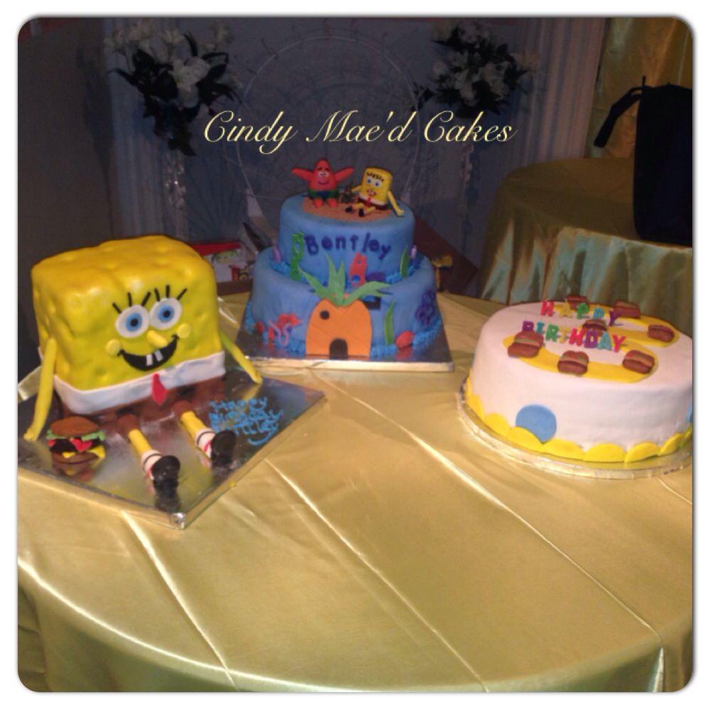 three cindy mae cake sponge bob square pants cakes
