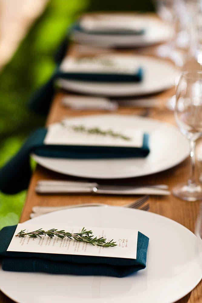 Beautiful wedding reception setup with navy napkins and white plates Model - Style Of navy napkins New