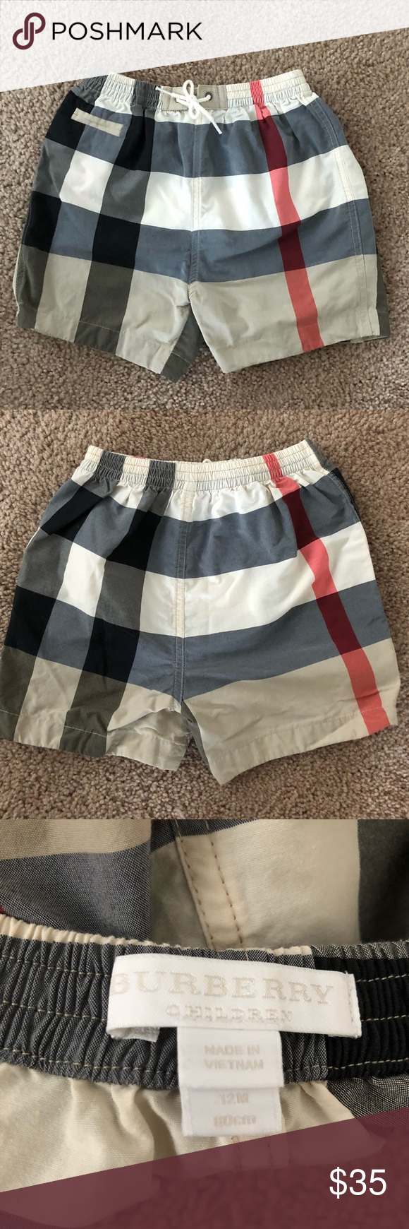 fdce96d4a003e Burberry 12mo swim trunks Get your little kid ready for summer in style!!! Burberry  swim bottoms, Size 12 months Simple, yet iconic Burberry check print.