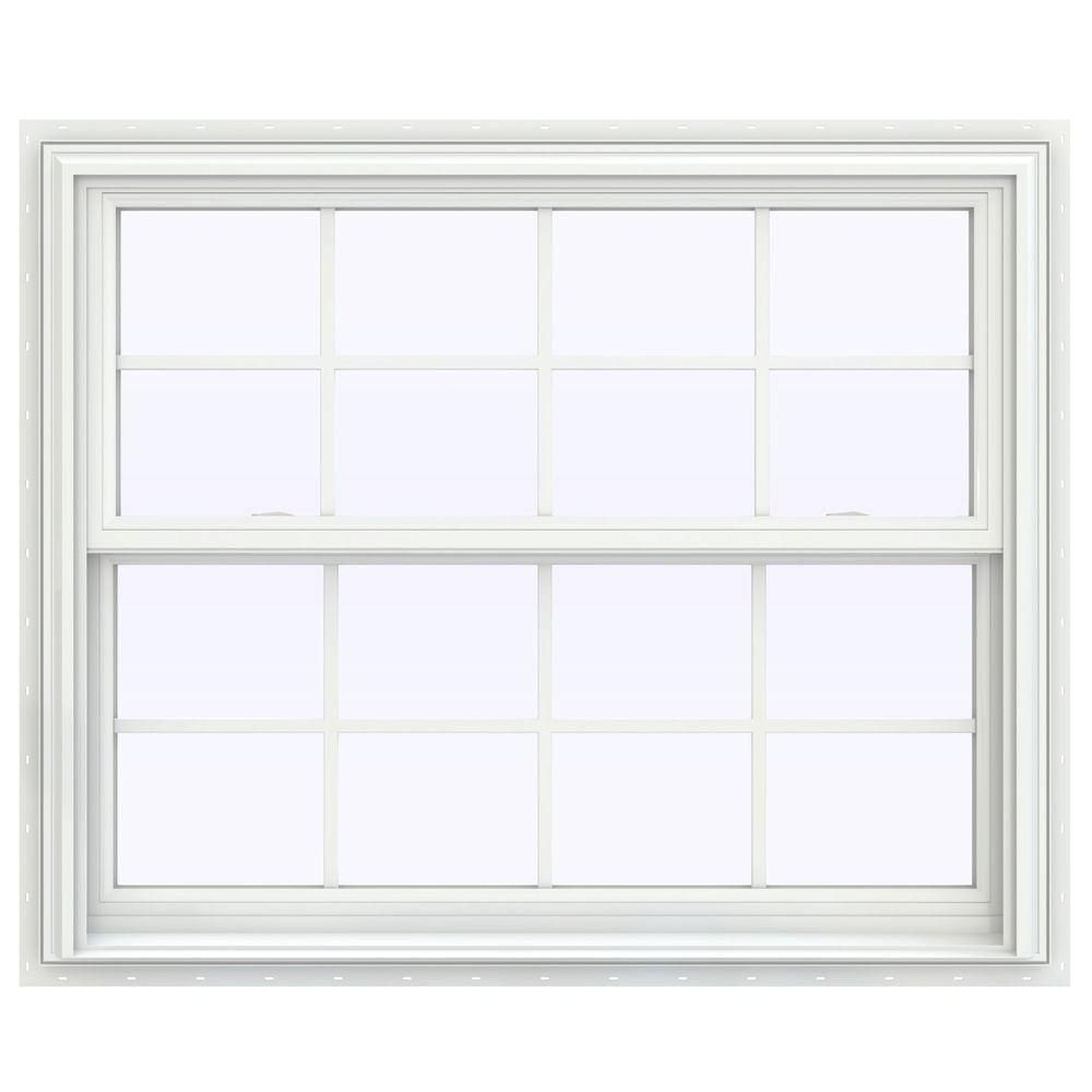 Jeld Wen 43 5 In X 53 5 In V 2500 Series White Vinyl Double Hung Window With Colonial Grids Grilles Thdjw144401047 Double Hung Windows Pole Barn Homes Windows
