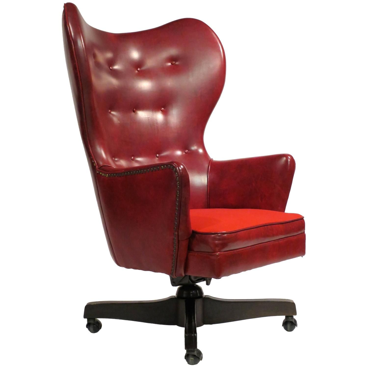 Leather Wingback Rolling Chair by Schafer Bros  office