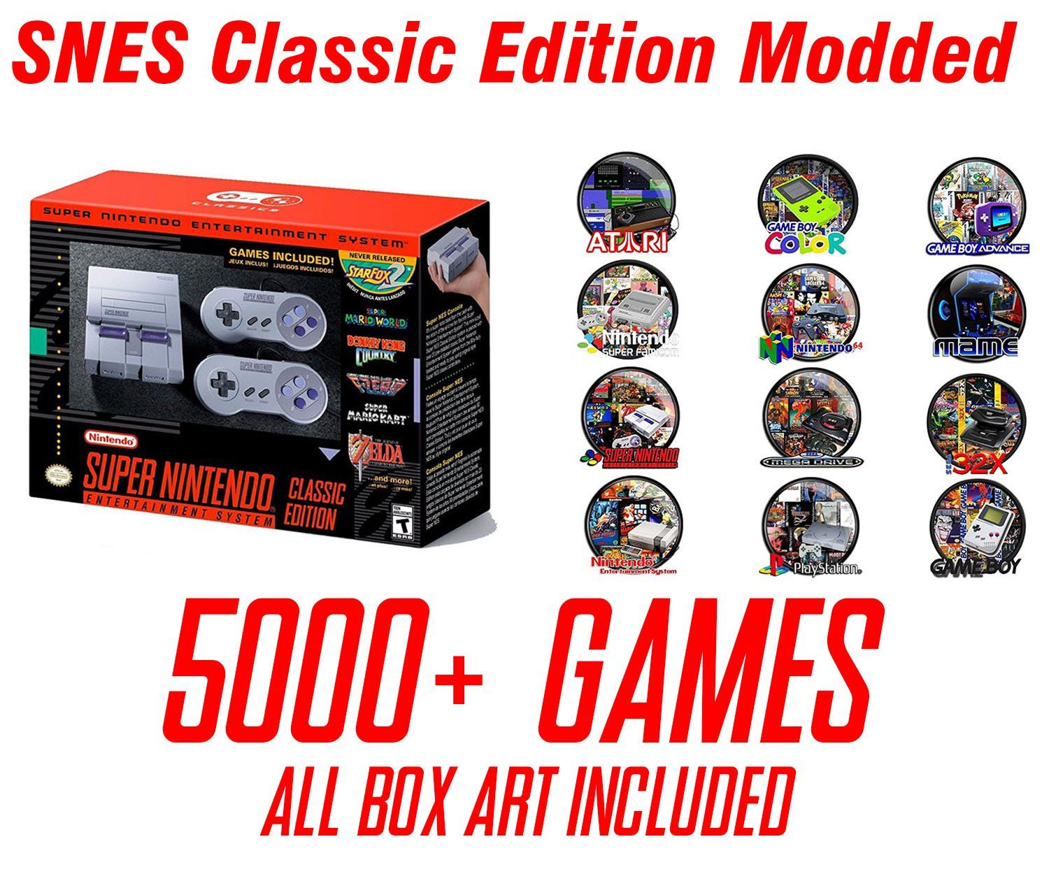 SNES Classic Edition Mini Modded Hacked 5000+ Games