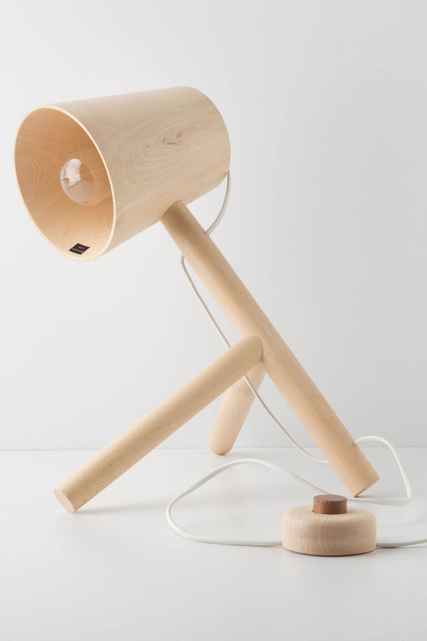 This Wooden Tripod Lamp Is Lathe Turned And Finished By Hand Using