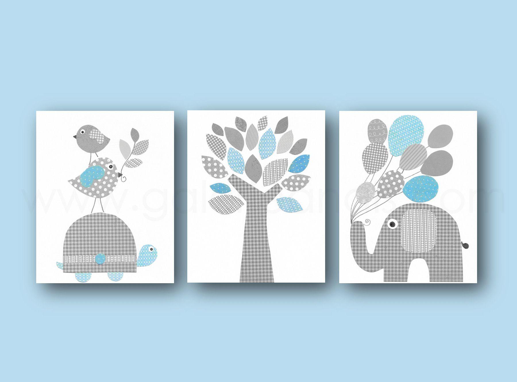 Lot de 3 illustrations pour chambre d'enfant et bebe, bleu gris tortue, elephant, girafe