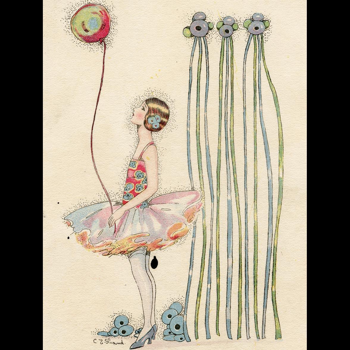 Art Deco Happy Birthday Balloon Girl In Tutu Artist Signed C E