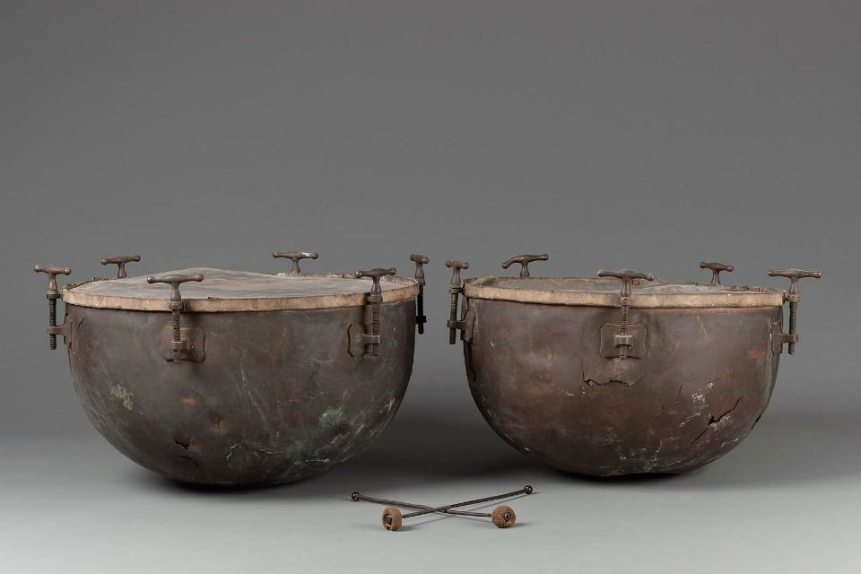 Pair of timpani and two mallets      19th century       England