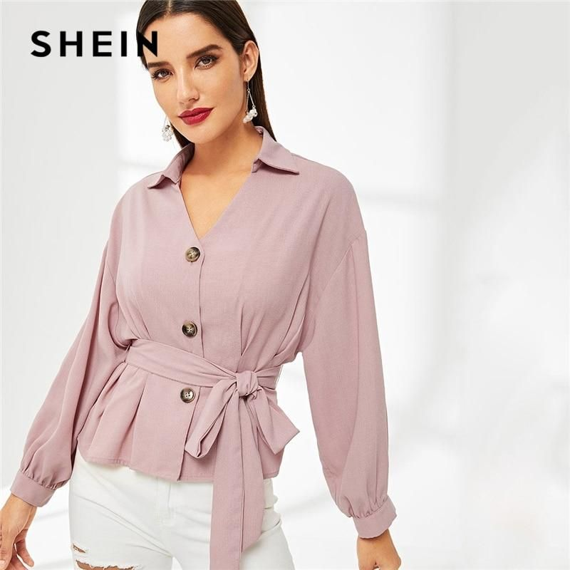 2eaa18048d19e SHEIN Pink Solid Button Front Peplum Belted Top Elegant Ruched Plain  Placket V Neck Long Sleeve