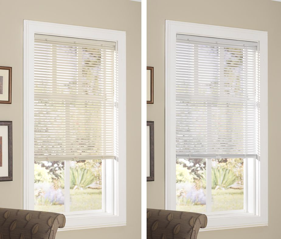 Cordless 1 Vinyl Mini Blind Available In White And Alabaster At Menards Stores Designer S Image Vinyl Mini Blinds Mini Blinds Designer Image