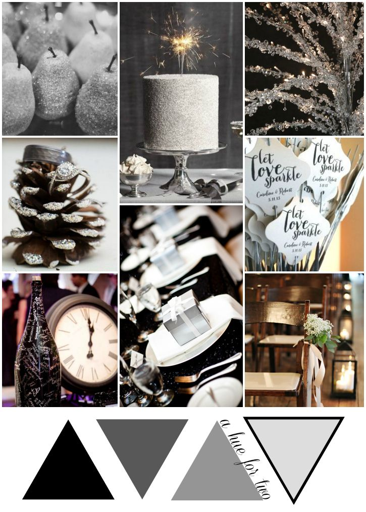 Silver Black And White Rustic New Years Eve Wedding Glam Colors