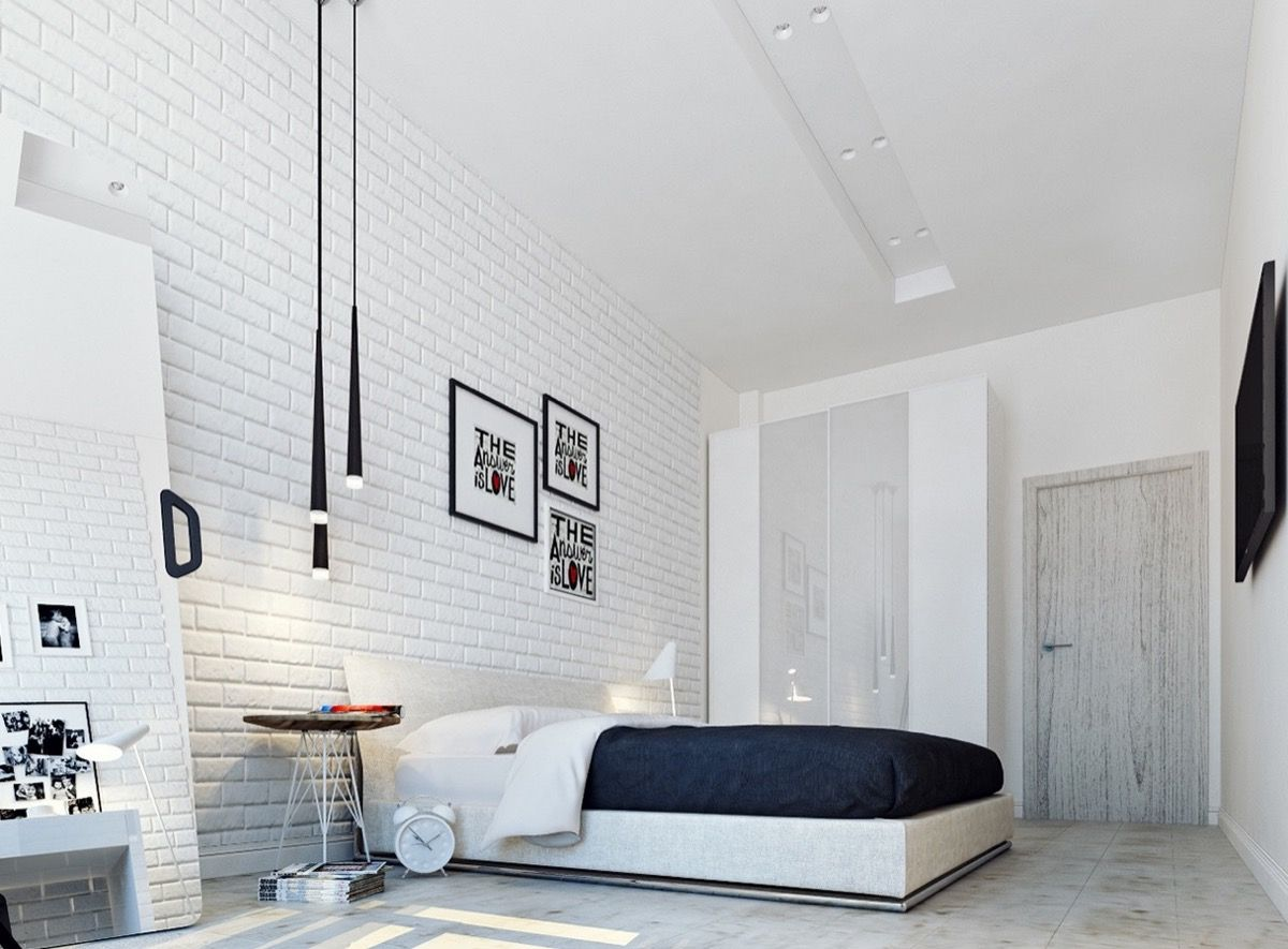 White Bedroom Concept Ideas That Can Produce Relaxing Feel Brick Wall Bedroom Brick Interior Wall White Brick Walls