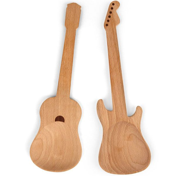 Acoustic and Electric Guitar Shaped Rockin Wooden Spoons