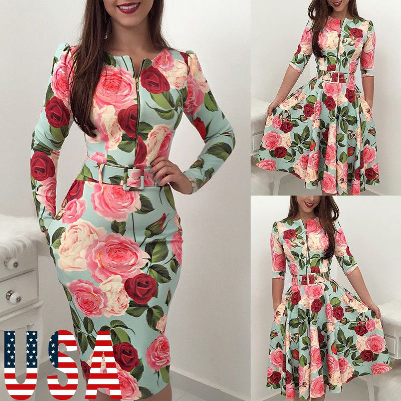 a874ba27a88c Women s Summer Boho Floral Long Sleeve Long Maxi Dress Party Beach Sundress  USA  fashion  clothing  shoes  accessories  womensclothing  dresses  ad  (ebay ...