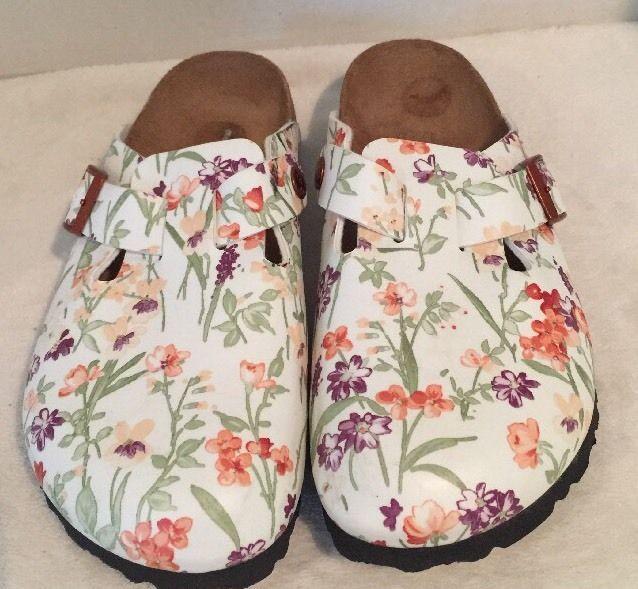 Birkenstock PAPILLIO Shoes BOSTON FLOWER WHITE Mules Clogs