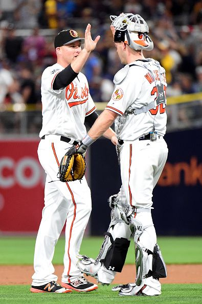 #Allstar2016 Zach Britton of the Baltimore Orioles and the American League is congratulated by Matt Wieters of the Baltimore Orioles after defeating the National...