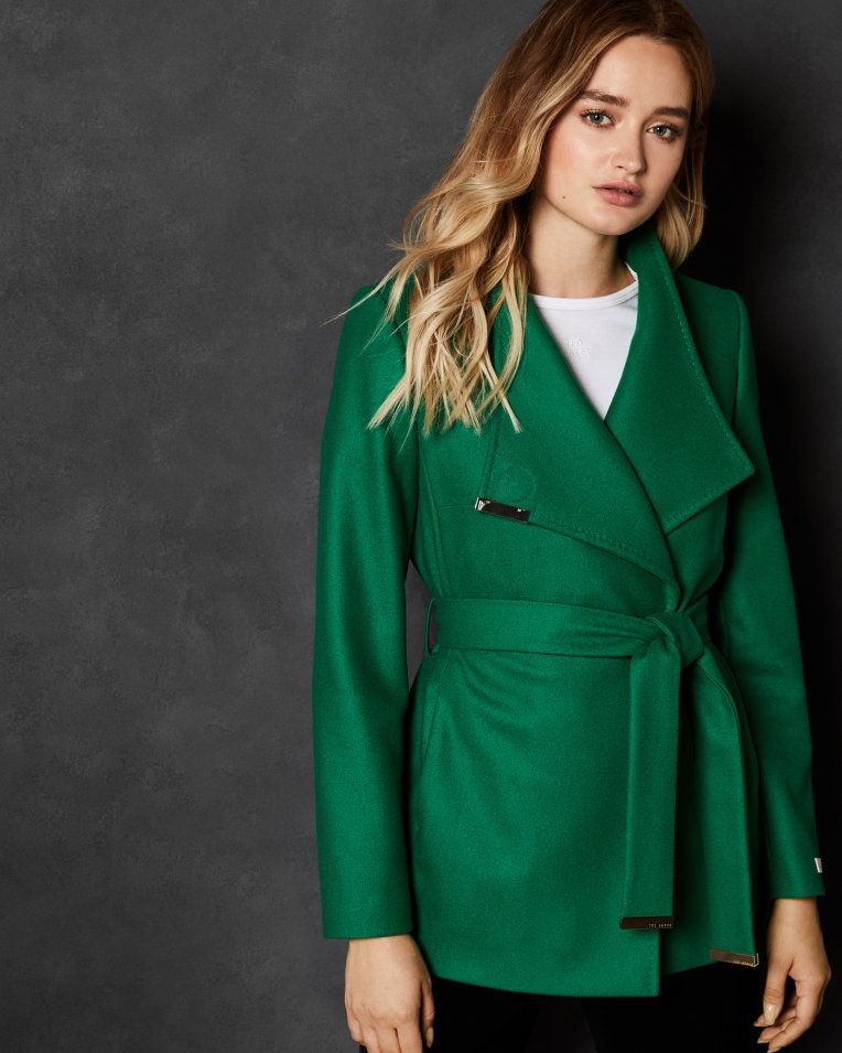 780fa8129 Short wool wrap coat - Bright Green