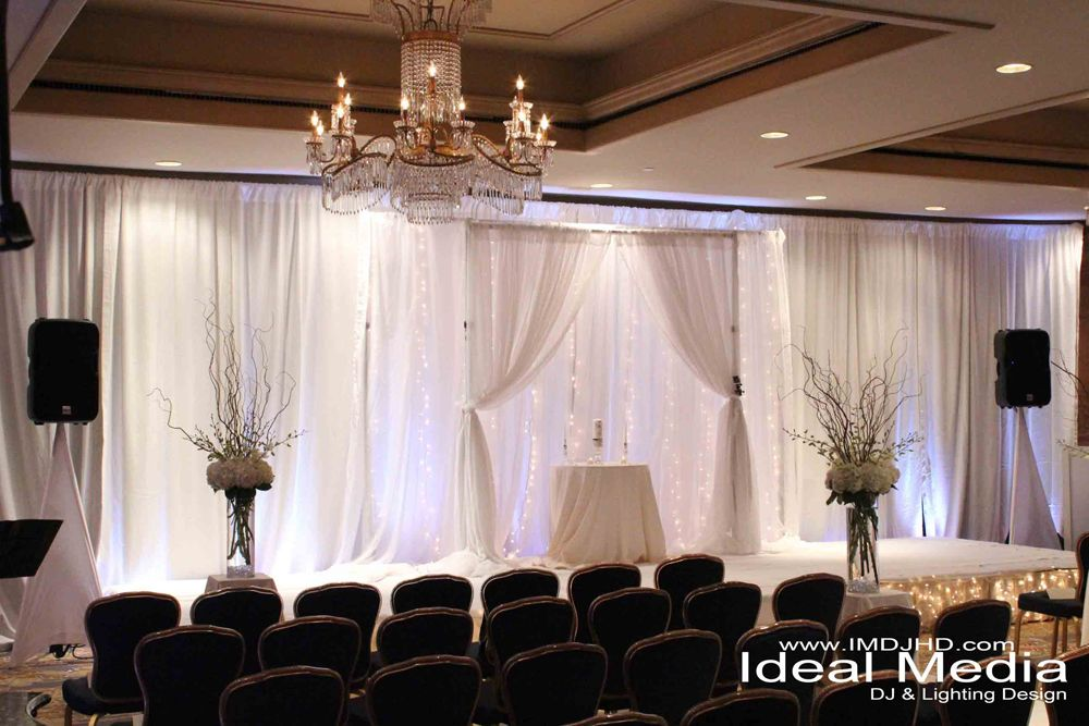 White Pipe and Drape with Uplighting & String Lights - The Ritz ...