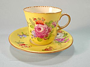 Lovely Dresden Pastel Demi Cup and Saucer HP Flowers. Click on the image for more information.