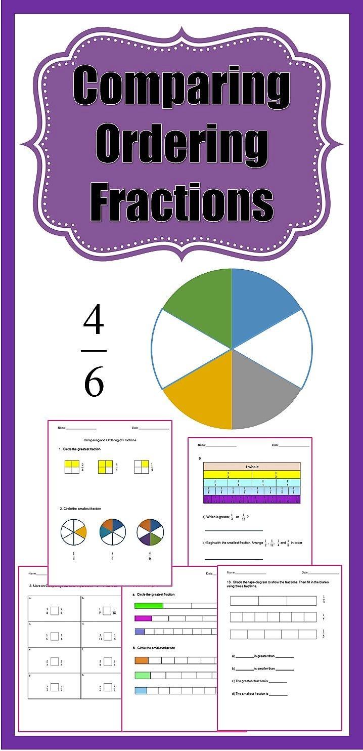 Fractions Worksheets 3rd Grade 4th Grade Comparing And Ordering Fractions Fractions Worksheets Ordering Fractions Fractions