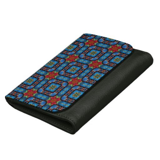Blue/Red Autumnal Pattern Leather Wallet