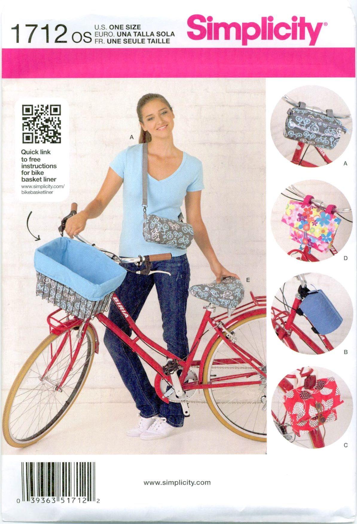 Simplicity 1712 Bicycle Bike Handlebar Bags Seat Cover Sewing Pattern Uncut Ff In 2020 Bike Basket Liner Diy Sewing Pattern Sewing Patterns
