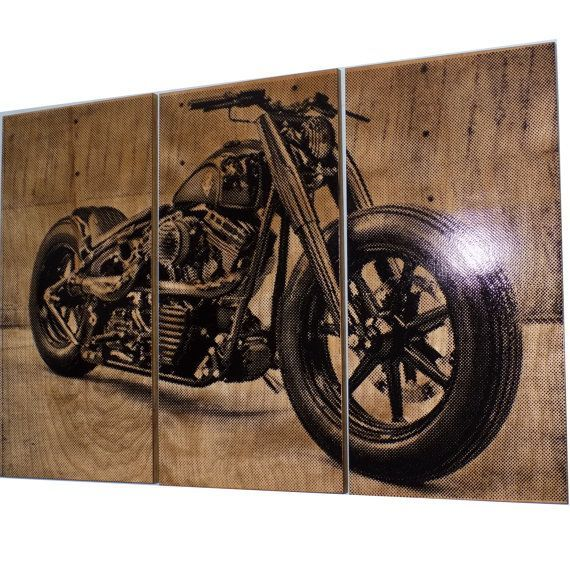 Harley Davidson Wall Decor harley davidson fatboy / softail / motorcycle / bike print wood
