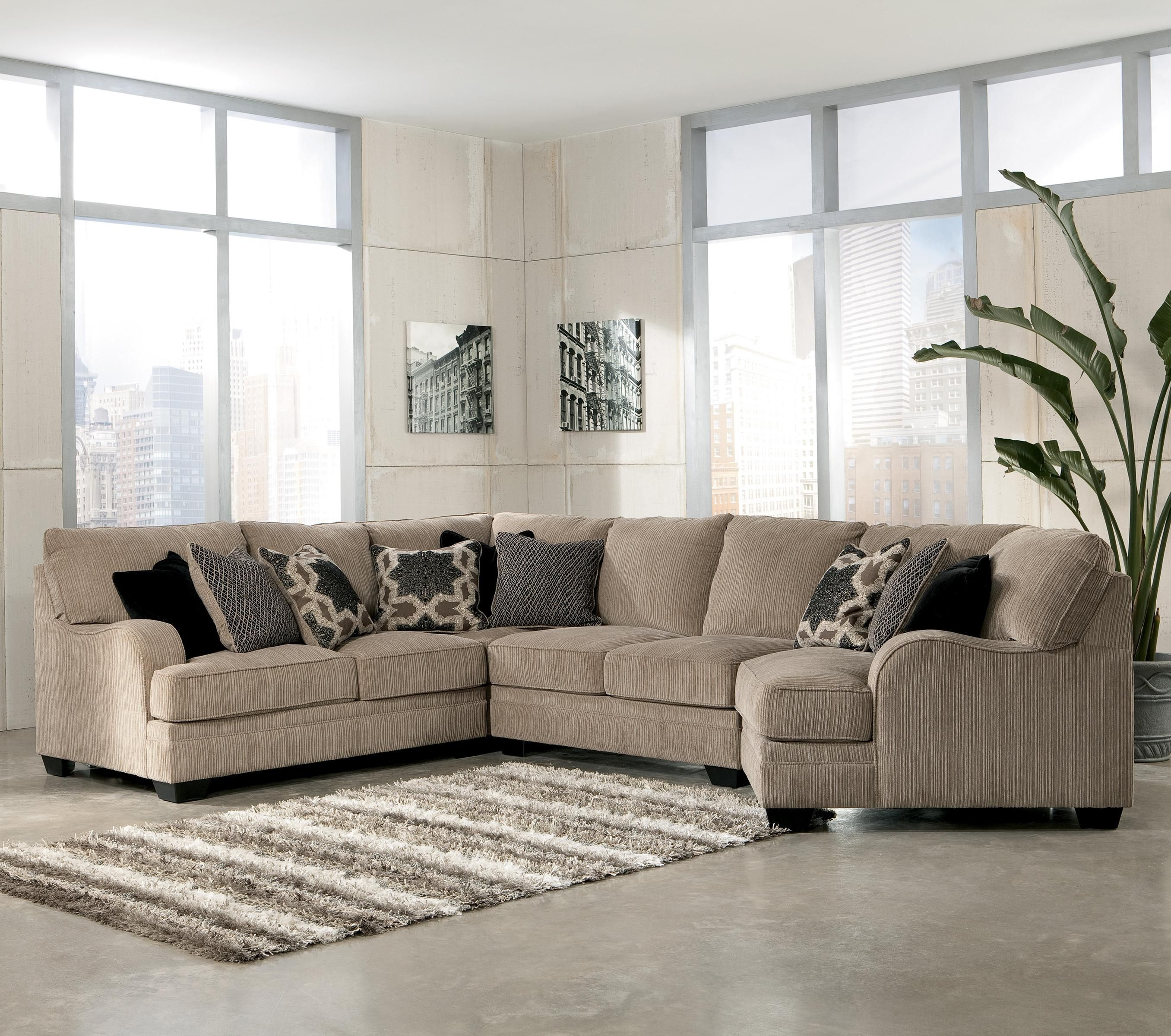 Katisha platinum 4 piece sectional sofa with right - 4 chairs in living room instead of sofa ...