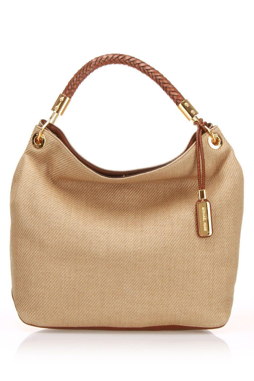 Michael Kors Skorpios Woven Large Shoulder Bag In Khaki Beyond The Rack