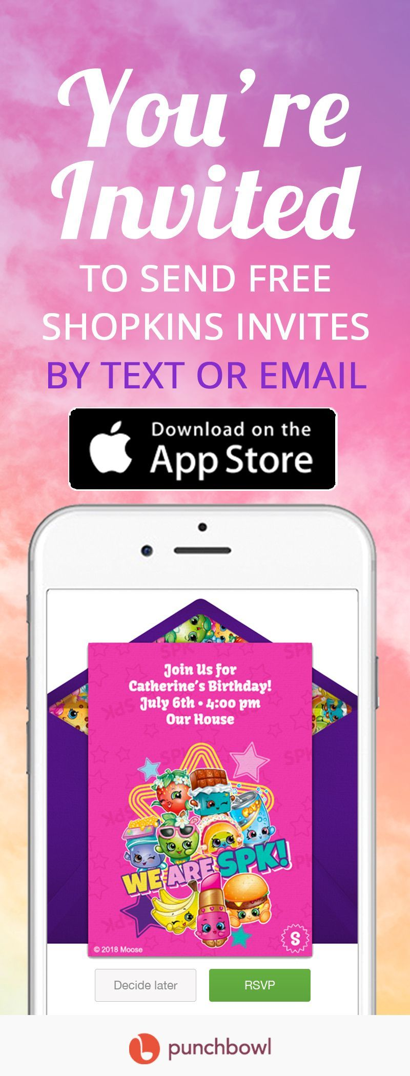 Send free Shopkins invitations by text message right from