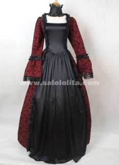 Dark Red and Black Cotton Printed Gothic Victorian Masquerade Ball Gown Costume For Halloween