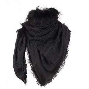 Gucci Black & dark grey Silk & Wool Blend Diamante Jacquard Fur Shawl