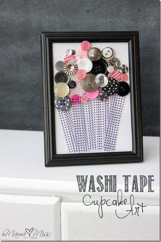 صناعة لوحة فنية بأزرار الملابس ووضعها داخل اطار ليصبح مظهرها جميل Washi Decor Frame