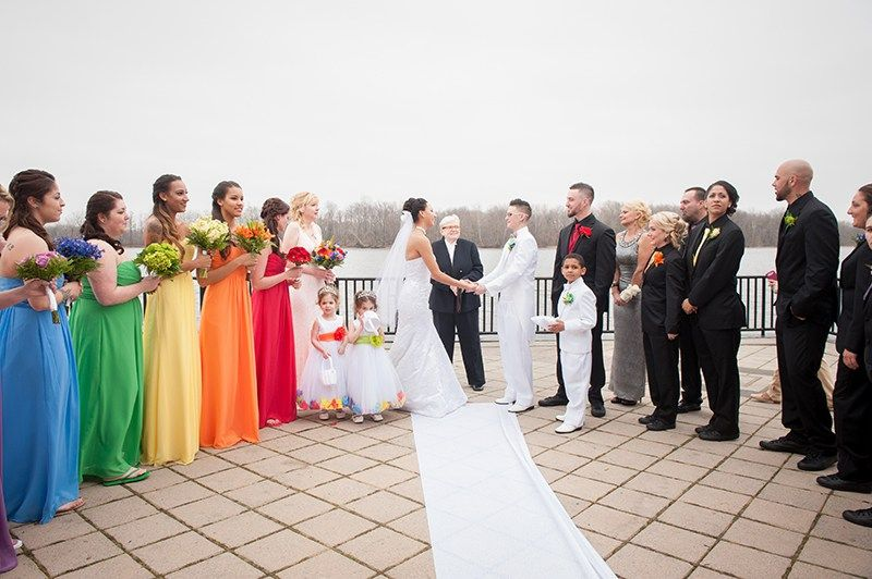 These two brides had a mind blowing pennsylvania rainbow wedding junglespirit