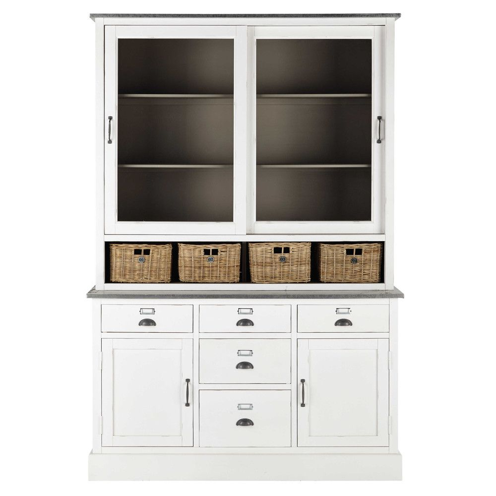 vaisselier en bois blanc l 145 cm furniture pinterest vaisselier bois blanc et maison du. Black Bedroom Furniture Sets. Home Design Ideas