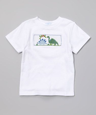 Another great find on #zulily! White & Blue Dinosaur Tee - Infant & Toddler by Silly Goose #zulilyfinds