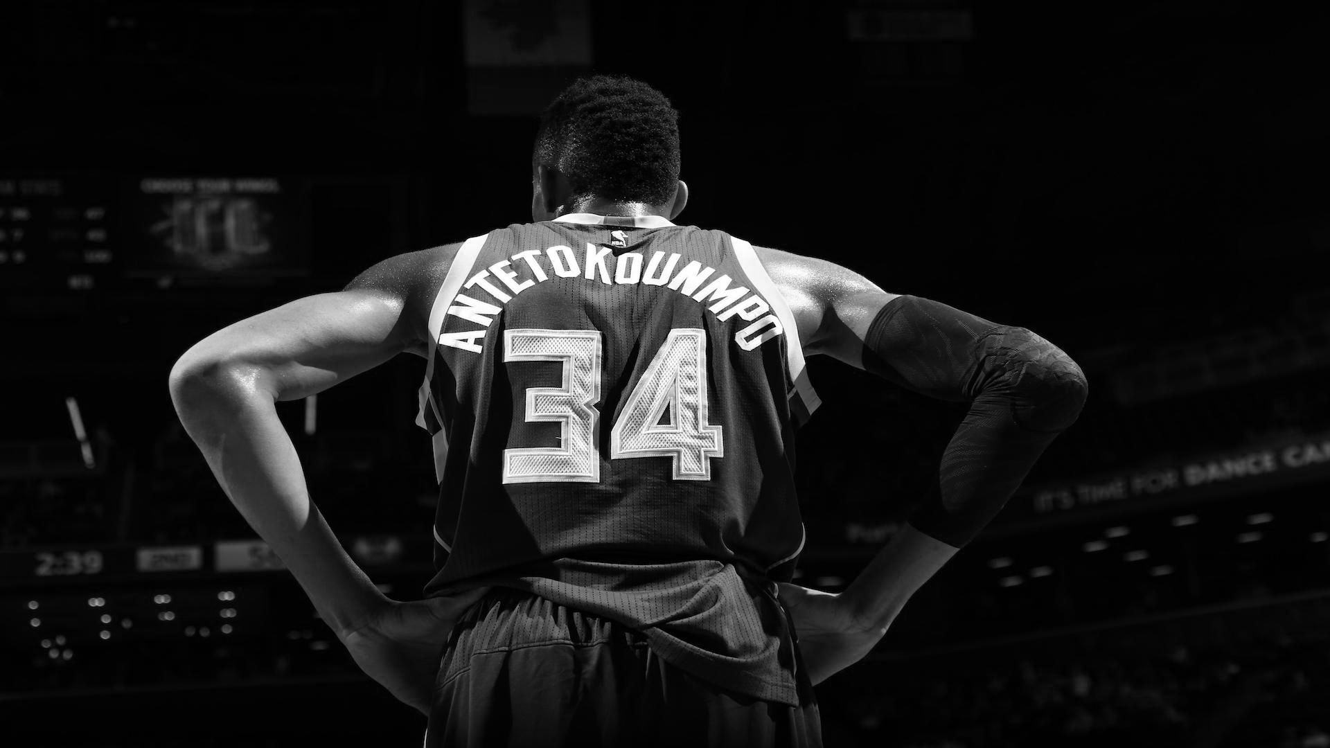 Giannis Antetokounmpo. The Greek Freak. Black, white
