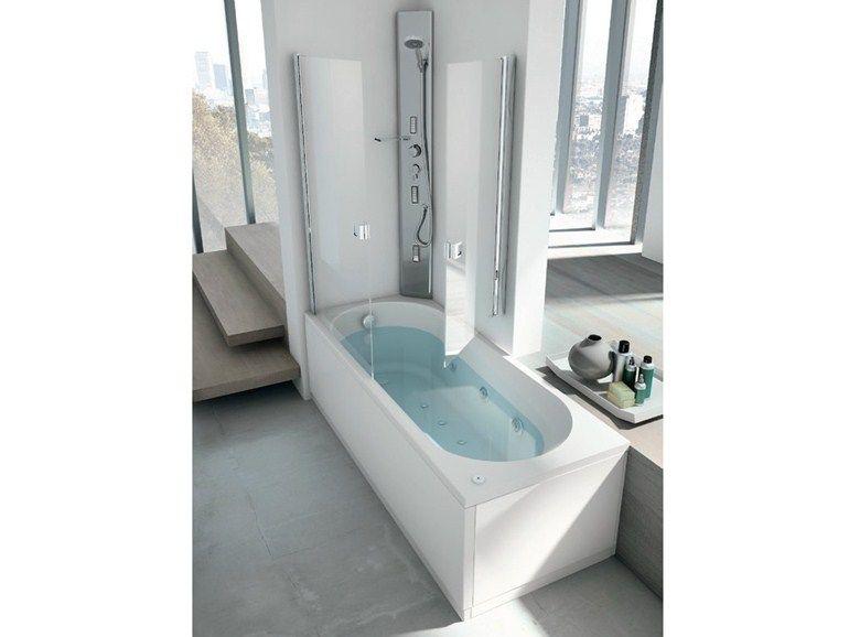 Vasca da bagno angolare idromassaggio con doccia LINEA