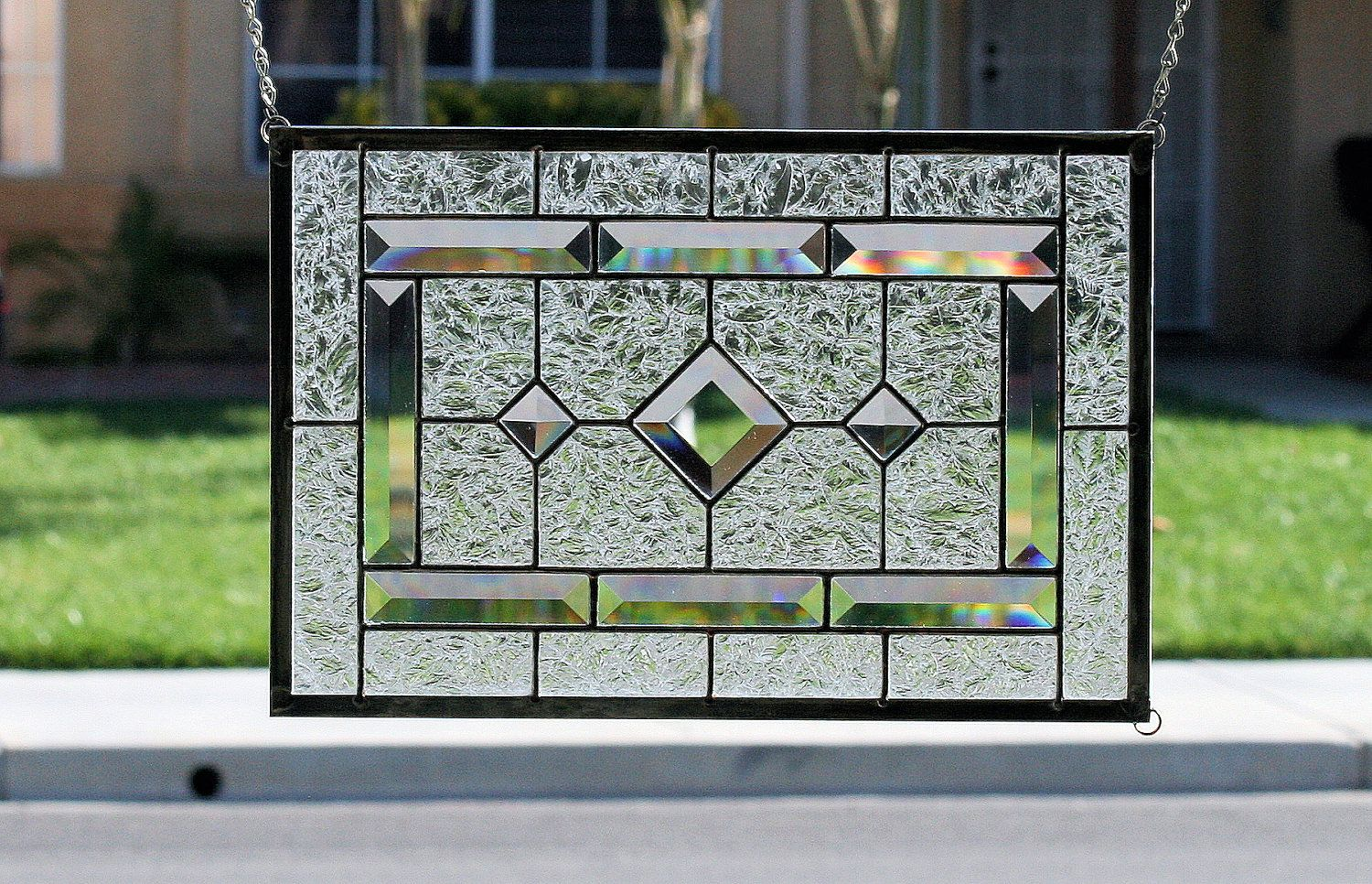 Need this for the kitchen window diamonds clear stained for Stained glass kitchen windows