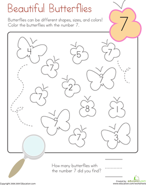 coloring 7 beautiful butterflies classroom ideas matem ticas preescolar actividades para. Black Bedroom Furniture Sets. Home Design Ideas