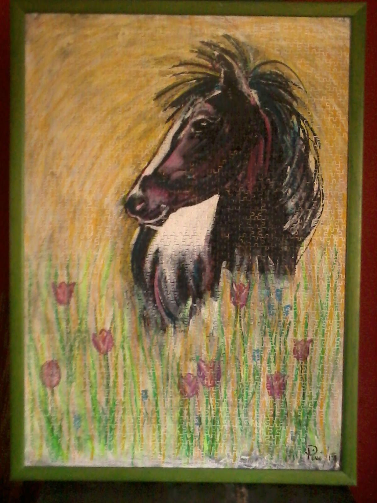 La potranca y los tulipanes. Acrílico y óleo. 85 X 60